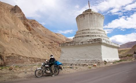 Getting used to the motorcycle in Leh